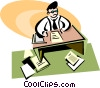 man sitting at his desk doing paperwork Vector Clip Art picture