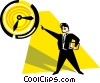 man holding a file folder pointing at the clock Vector Clip Art image