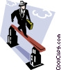 Vector Clip Art graphic  of a man walking on balance beam