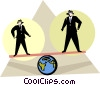 Vector Clipart graphic  of a two men on a teeter totter
