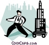 Vector Clip Art image  of a man towing an office building