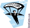 man parachuting Vector Clip Art picture