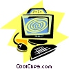 Vector Clipart graphic  of a home/office computer