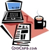 laptop, newspaper and morning coffee Vector Clipart illustration