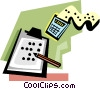 Vector Clipart image  of a calculator with pencil and