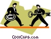 Vector Clip Art graphic  of a businessmen with lock and key