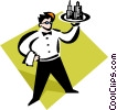 Vector Clip Art graphic  of a waiter with a serving tray