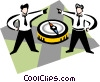 Vector Clipart graphic  of a businessmen with a compass