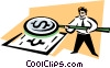 businessman with a magnifying glass Vector Clipart illustration