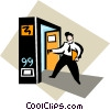 Vector Clip Art graphic  of a businessman entering a room