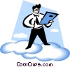man reading a report on the clouds Vector Clipart illustration