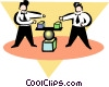Vector Clip Art image  of a businessmen balancing blocks