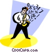 Vector Clipart graphic  of a musician playing the saxophone