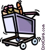 Vector Clipart picture  of a shopping cart with groceries