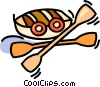 Vector Clipart graphic  of a boat with paddles