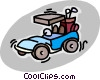 Vector Clip Art graphic  of a electric golf carts