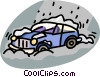 Vector Clip Art image  of a car stuck in a snow storm