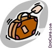 Vector Clip Art image  of a luggage with a tag