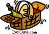 picnic basket with food in it Vector Clip Art picture