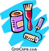 cans of paint with brushes Vector Clipart graphic