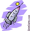 rocket ship flying through outer space Vector Clipart graphic