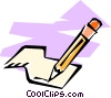 pencil and eraser with paper Vector Clipart image