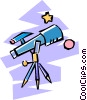 telescope looking at the stars and the moon Vector Clip Art picture