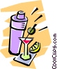 Vector Clip Art image  of a cocktail shaker and cocktails