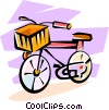 Vector Clipart illustration  of a bicycle with a basket