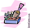 Vector Clip Art image  of a box of flowers and gardening
