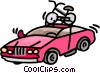 Vector Clipart illustration  of a car with a bike strapped to