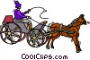 Vector Clip Art graphic  of a person driving a horse and
