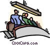 Vector Clip Art picture  of a going down the escalator