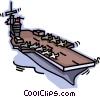 Vector Clip Art graphic  of a Navy aircraft carrier