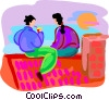 Vector Clip Art image  of a two people sitting on the roof top
