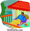 Vector Clip Art image  of a person relaxing on the porch