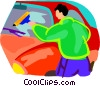 window washer Vector Clipart illustration