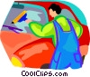 Vector Clipart graphic  of a window washer