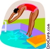 Vector Clip Art picture  of a woman diving into the pool