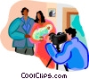 parents with a newborn getting their picture taken Vector Clip Art picture
