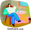 Vector Clipart illustration  of a man sitting at the kitchen