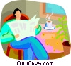 person reading the newspaper drinking coffee Vector Clip Art image