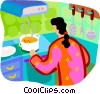 Vector Clipart graphic  of a woman making soup on the stove
