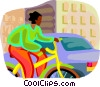 woman riding a bicycle Vector Clip Art graphic