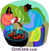 Vector Clip Art picture  of a women cooking sausages on a