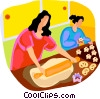 Vector Clip Art image  of a women making cookies