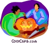 kids carving a Halloween pumpkin Vector Clipart picture