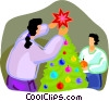 kids decorating the Christmas tree Vector Clipart picture