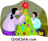 Vector Clip Art graphic  of a people decorating the