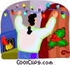 Vector Clip Art image  of a woman hanging the Christmas